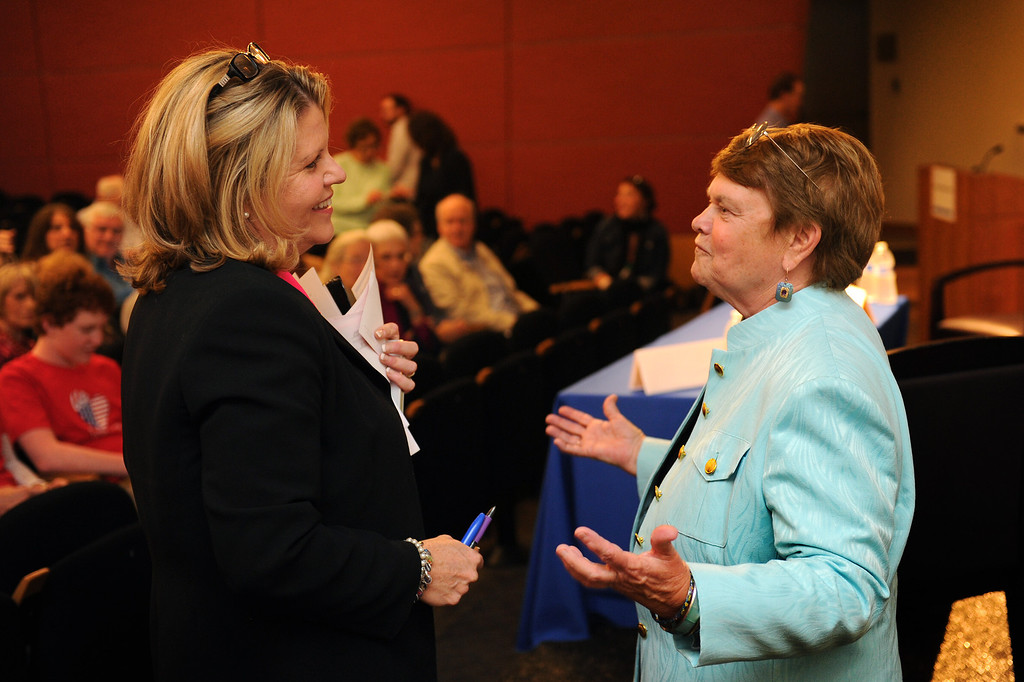 . Candidates Pamela Conley Ulich, left, and Sheila Kuehl chat before the 3rd District Board of Supervisors debate, Thursday, March 20, 2014, at UCLA�s California NanoSystems Institute Auditorium. (Photo by Michael Owen Baker/L.A. Daily News)