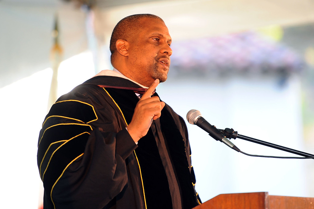 . Tavis Smiley speaks during the 2014 Commencement Ceremony at Pierce College June 10, 2014 in Woodland Hills, CA.(Andy Holzman/Los Angeles Daily News)