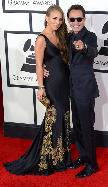 . Marc Anthony and Chloe Green arrive at the 56th Annual GRAMMY Awards at Staples Center in Los Angeles, California on Sunday January 26, 2014 (Photo by David Crane / Los Angeles Daily News)