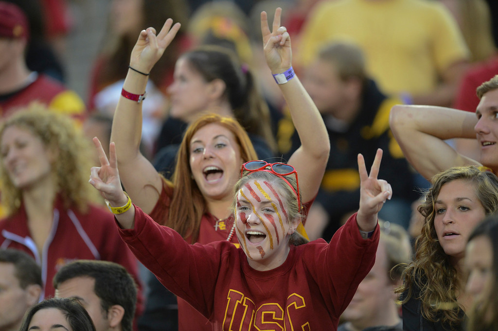 . USC fans against Colorado Saturday.  USC defeated Colorado 50-6.  (10/20/12) Photo by David Crane/L.A. Daily News
