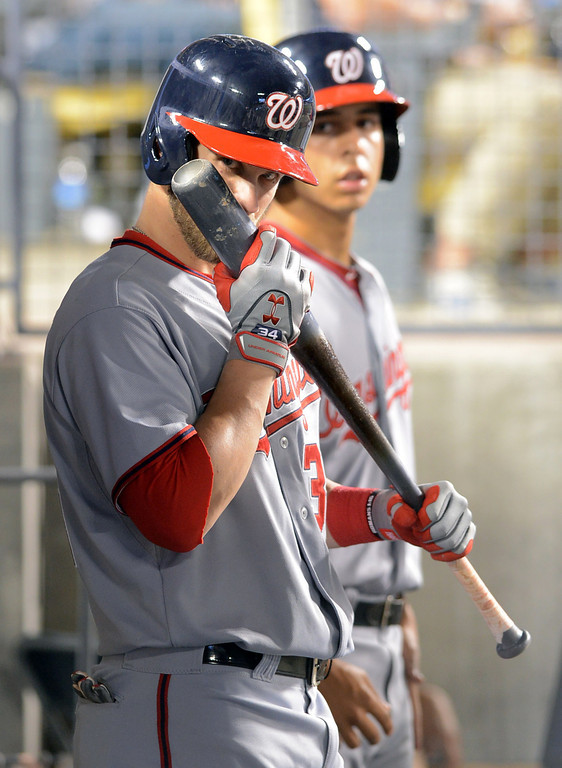 . Bryce Harper of the Nationals prepares to bat against  the Dodgers May 13, 2013 in Los Angeles, CA.(Andy Holzman/Staff Photographer)