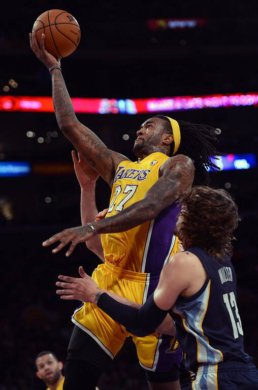 . The Lakers� Jordan Hill #27 lays the ball up during their game against the Grizzlies at the Staples Center in Los Angeles Friday, November 15, 2013. (Photo by Hans Gutknecht/Los Angeles Daily News)