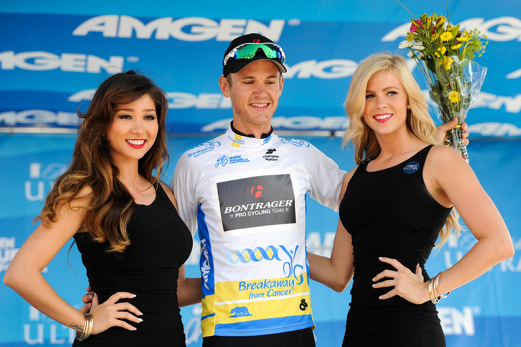 . Nathan Brown wins Most Courageous Rider for Stage 4 at the Amgen Tour of California finish in Santa Barbara, Wednesday, May 15, 2013. (Michael Owen Baker/Staff Photographer)