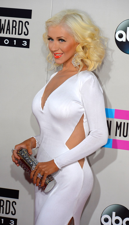 . Christina Aguilera arrives to the American Music Awards  at the Nokia Theatre in Los Angeles, California on Sunday November 24, 2013 (Photo by Andy Holzman / Los Angeles Daily News)