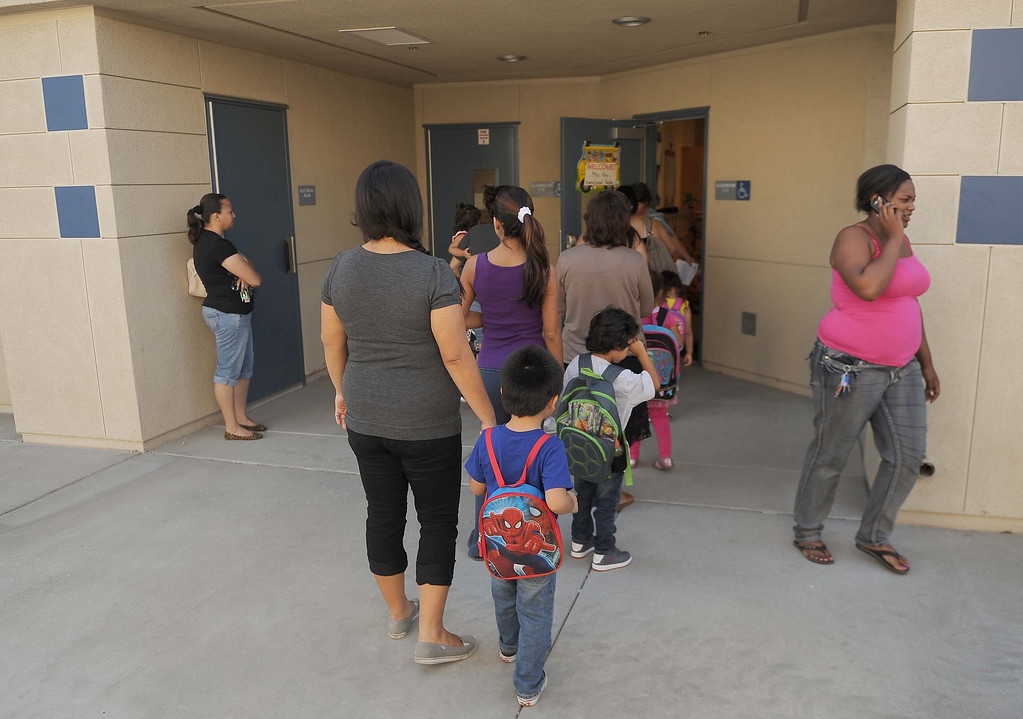 . Graciano Gomes Elementary welcome students back  to school Tuesday August 9, 2013  in San Bernardino.LaFonzo Carter/ Staff Photographer