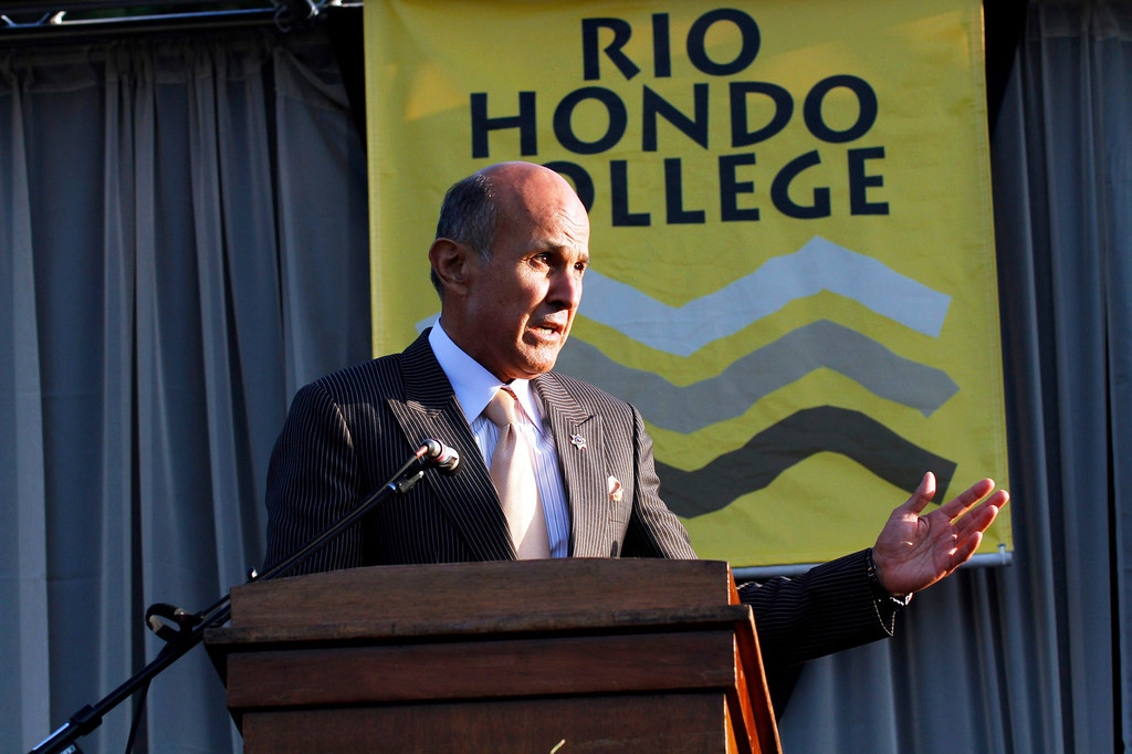 ". Sheriff Leroy ""Lee\"" Baca, of the Los Angeles County Sheriff\'s Department, gives the Commencement Address, during Rio Hondo College\'s 50th Annaul 2013 Commencement Ceremony, on the Rio Hondo College Soccer Field, in Whittier, Thursday, May 23, 2013. (Correspondent Photo by James Carbone/SWCITY)"