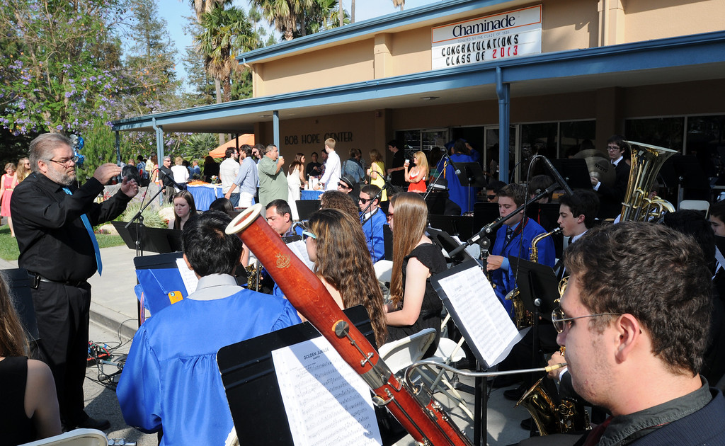 . Ken Hoffman, instrumental music director, conducts the band during the graduation ceremony.  Chaminade College Preparatory High School, celebrating its 60th anniversary, graduated 337 students at the West Hills campus on Saturday, June 01, 2013.  (Dean Musgrove/Los Angeles Daily News)