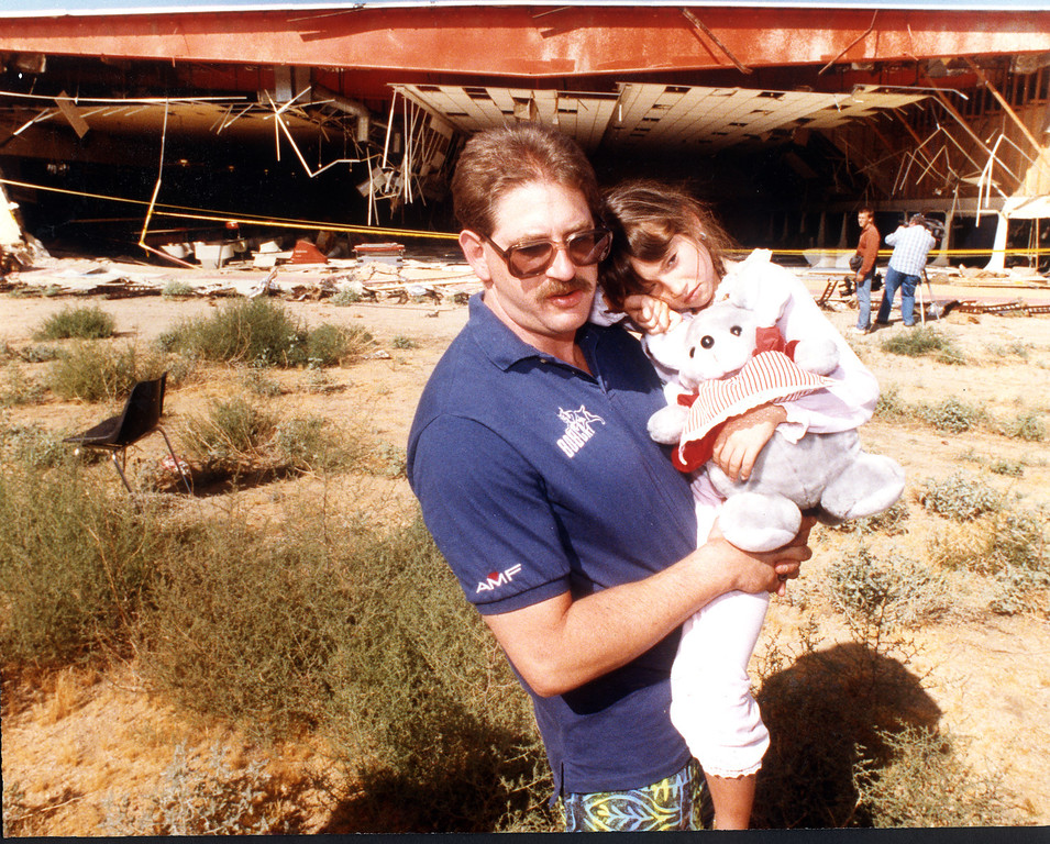 . June 1992: Jerry Gobrogge and his daughter Sara came out to survey the damage to Gobrogge\'s Yucca Bowl bowling alley.  Daily News file photo