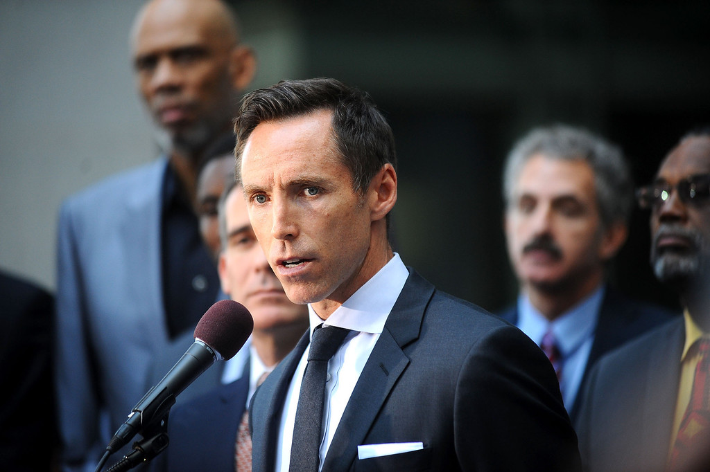 . Steve Nash of the Los Angeles Lakers speaks during a press conference at Los Angeles city hall regarding NBA Commissioner Adam Silver\'s banning of Donald Sterling for life from any association with the Clippers or the NBA April 29, 2014.(Andy Holzman/Los Angeles Daily News)