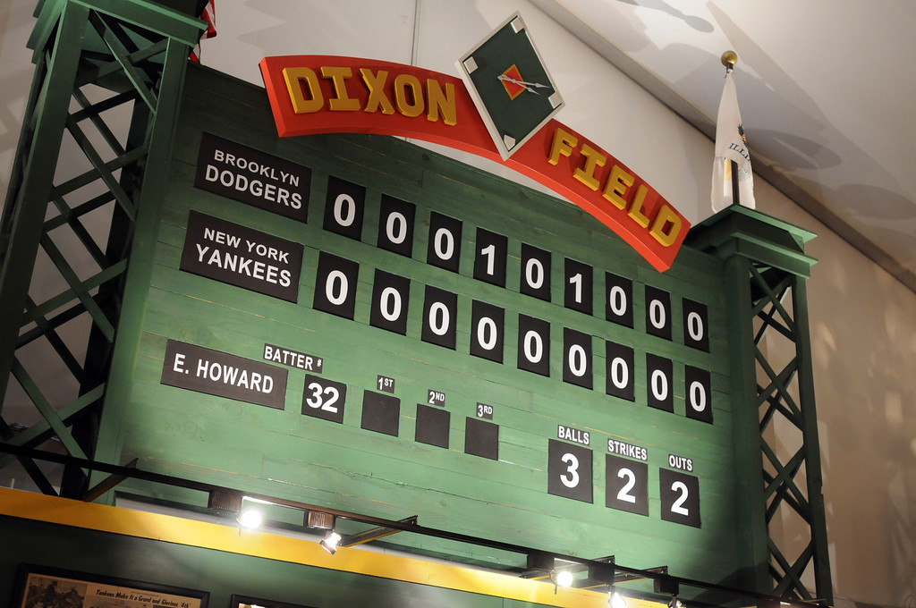 . Dixon Field is a \'tip of the hat\' salute from The Ronald Reagan library to Reagan\'s boyhood home in Dixon, illinois.  Baseball! The Exhibition opens April 4, 2014 at the Ronald Reagan Presidential Library and Museum.  Running through September 4, 2014, Baseball is a 12,000 square foot exhibition featuring over 700 artifacts, including some of the rarest, historic and iconic baseball memorabilia.  (Photo by Dean Musgrove/Staff Photographer)