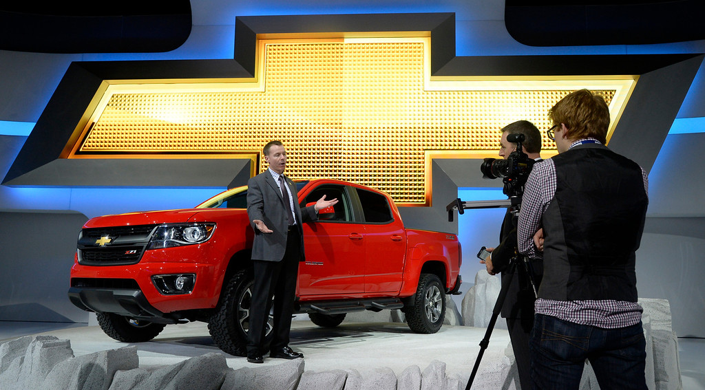 . Nov 20,2013 Los Angeles CA. USA. Chevy shows the new 2015 Colorado truck on display during the 2013 Los Angeles Auto Show. Photo by Gene Blevins/LA Daily News