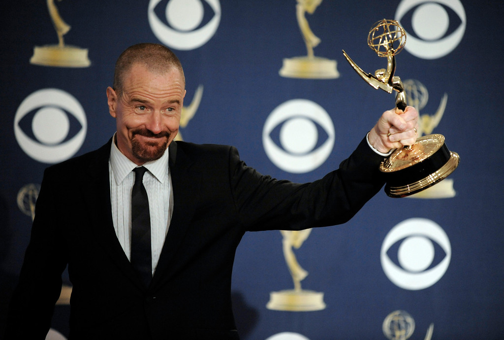 . Bryan Cranston as Walter White in �Breaking Bad� is seen backstage after accepting the award for best lead actor in a drama series at the 61st Primetime Emmy Awards on Sunday, Sept. 20, 2009, in Los Angeles. (AP Photo/Chris Pizzello)