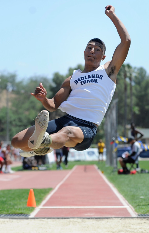. Walter Jones from Redland competes in the Boys Long Jum during the 2013 CIF Southern Section Track & Field Divisional Finals held at Mt. San Antonio College in Walnut, CA 5/18/2013(John McCoy/LA Daily News)