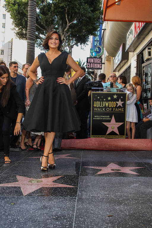 . Mariska Hargitay poses for a photo next to her newly revealed star (on right) and her mother Jayne Mansfield\'s star on the Hollywood Walk of Fame on Friday, Nov. 8, 2103 in Los Angeles. (Photo by Paul A. Hebert/Invision/AP)