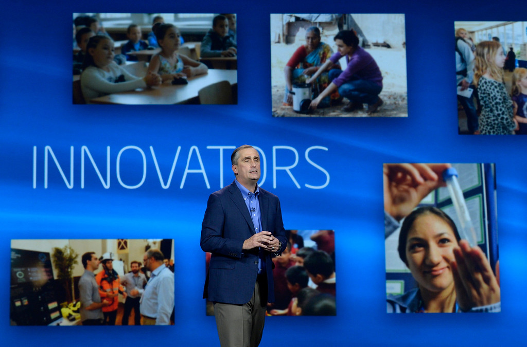 . Jan 6,2014.  Las Vegas NV. USA.  Intel CEO Brian Krzanich as he talk during the Intel keynote show at the 2014 CES media day show Monday. The 2014 CES show starts this Tuesday and runs till Friday with a estimated crowd of 150,000 to attend the show.. Photo by Gene Blevins/LA Dailynews