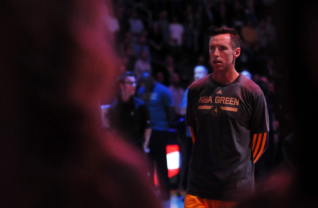 . Los Angeles Lakers\' Steve Nash prior to a NBA basketball game against the Dallas Mavericks in Los Angeles, Calif., on Friday, April 4, 2014.  (Keith Birmingham Pasadena Star-News)
