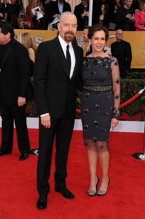 . Bryan Cranston and Robin Dearden arrive at the 19th Annual Screen Actors Guild Awards at the Shrine Auditorium in Los Angeles on Sunday Jan. 27, 2013. (Photo by Jordan Strauss/Invision/AP)