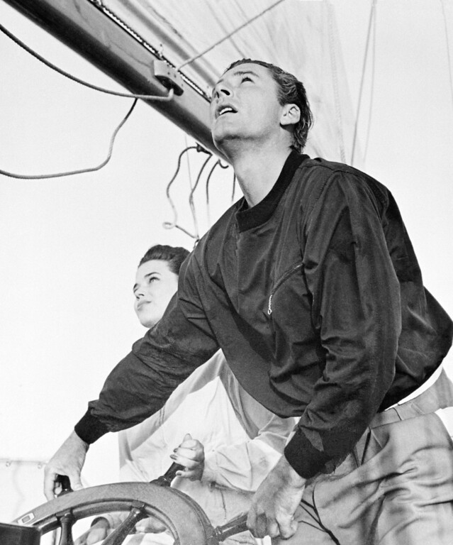 ". Actors Errol Flynn and Peggy Larue Saterlee -17-year-old nightclub entertainer aboard his yacht ""Sirocco\"" on the trip to Catalina Island August 1941. (AP Photo)"