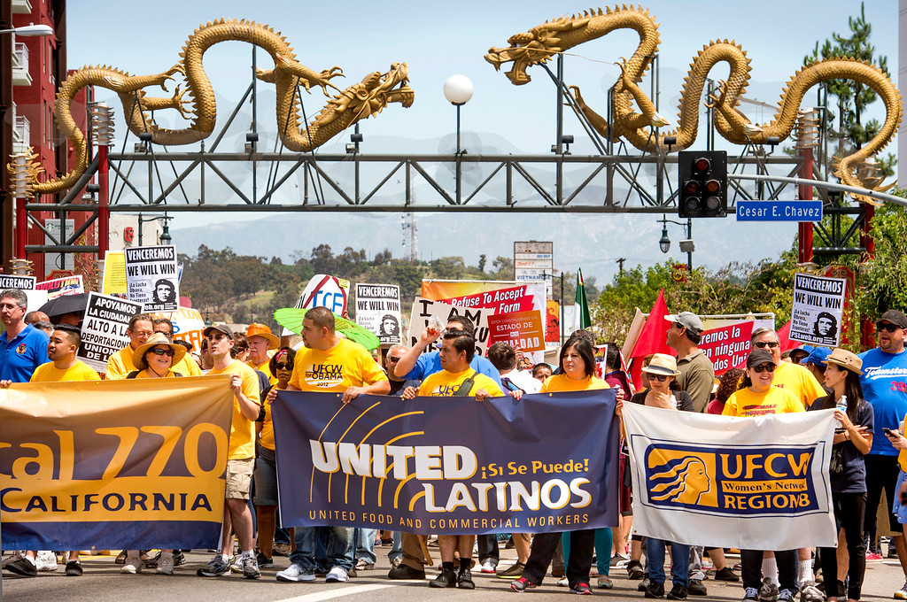 . The Coalition for Humane Immigrant Rights of Los Angeles (CHIRLA) joined area organizations and coalitions to march in honor of worker contributions and denounce deportations of undocumented immigrants living in the United States May 1, 2014.  The march through Downtown Los Angeles began under the Dragons Gate in Chinatown.   (Staff photo by Leo Jarzomb/San Gabriel Valley Tribune)