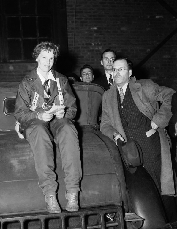 . Amelia Earhart poses with her husband George P. Putnam after completing her non-stop flight from Mexico City, a 2100-mile journey in 14 hours and 20 minutes, May 8, 1935, Newark, N.J. (AP Photo)