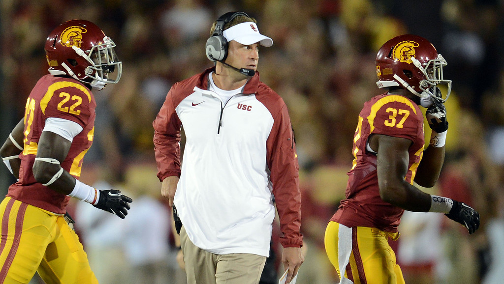 . USC coach Lane Kiffin during their game against Washington State at the Los Angeles Memorial Coliseum  Saturday, September 7, 2013.  (Photo by Hans Gutknecht/Los Angeles Daily News)