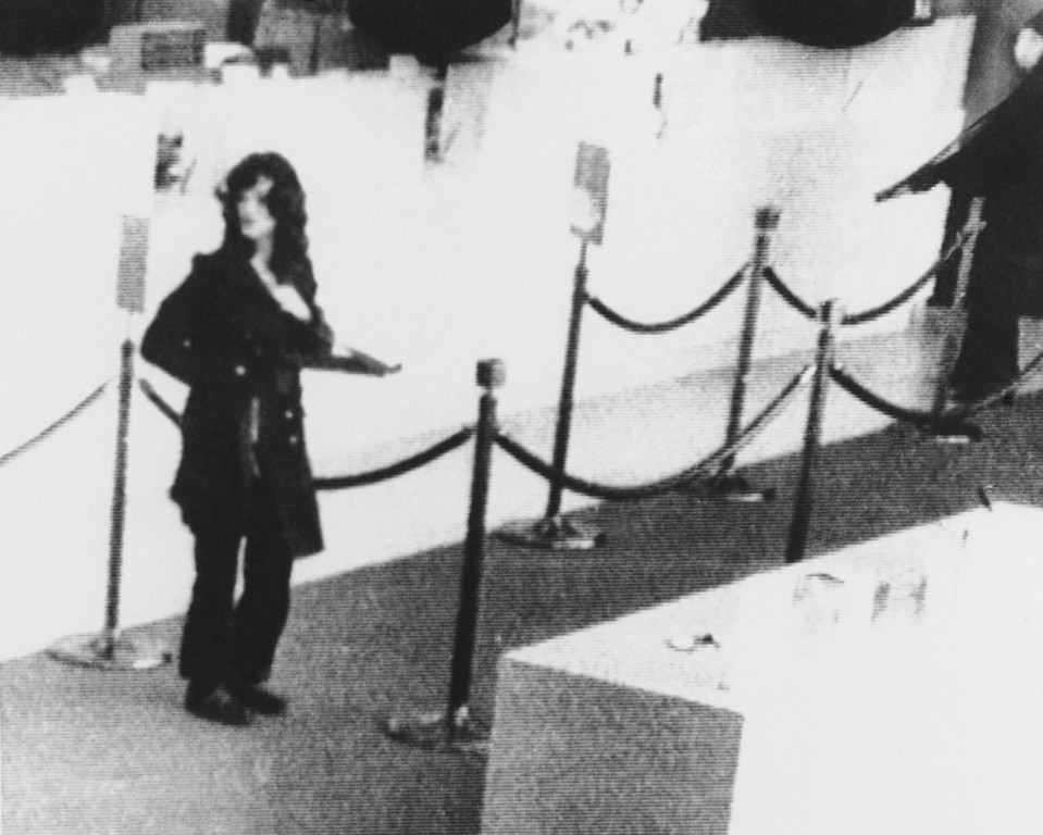. Newspaper heiress Patricia Hearst was identified by the FBI as taking part in the robbery of a San Francisco bank in this April 1974 photo. Miss Hearst was captured, Thursday, Sept. 18, 1975 in San Francisco\'s mission district after a search of more than a year. (AP Photo)