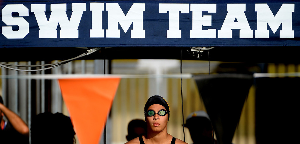 . Cerritos\'s Kiri Harvey prepares for the 200 IM during the Division 4 CIF Southern Section Swimming Championships in the Riverside Aquatics Complex at Riverside City College in Riverside, Calif., on Friday, May 16, 2014.  (Keith Birmingham/Pasadena Star-News)