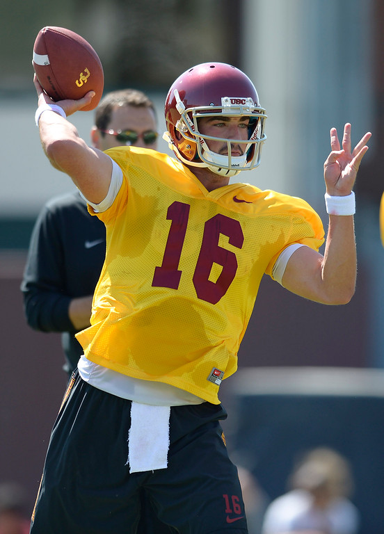 . QB Anthony Neyer. Football practice is in full swing on the Howard Jones Field at USC. Los Angeles, CA. 8/6/2014(Photo by John McCoy Daily News)