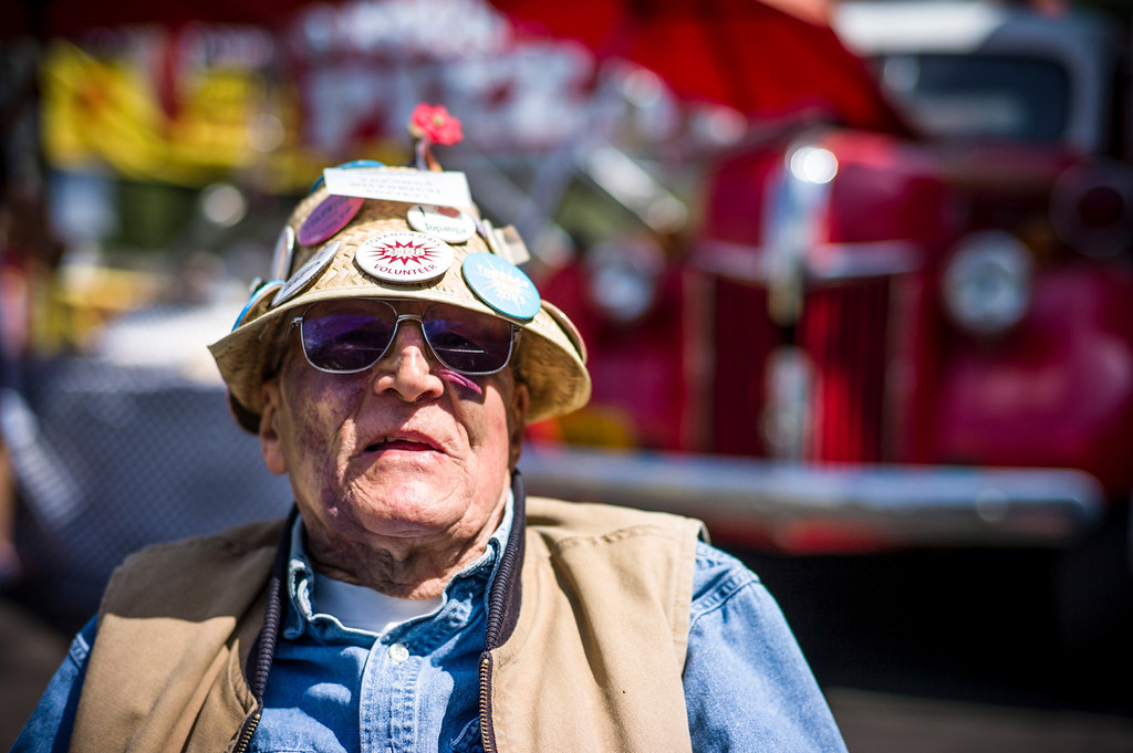 . Dan Kirby, 82, of Topanga, takes in the sights at the 40th annual Topanga Days celebration in Topanga Sunday.  The celebration continues Monday with more bands scheduled to perform.   Photo by David Crane/Los Angeles Daily News