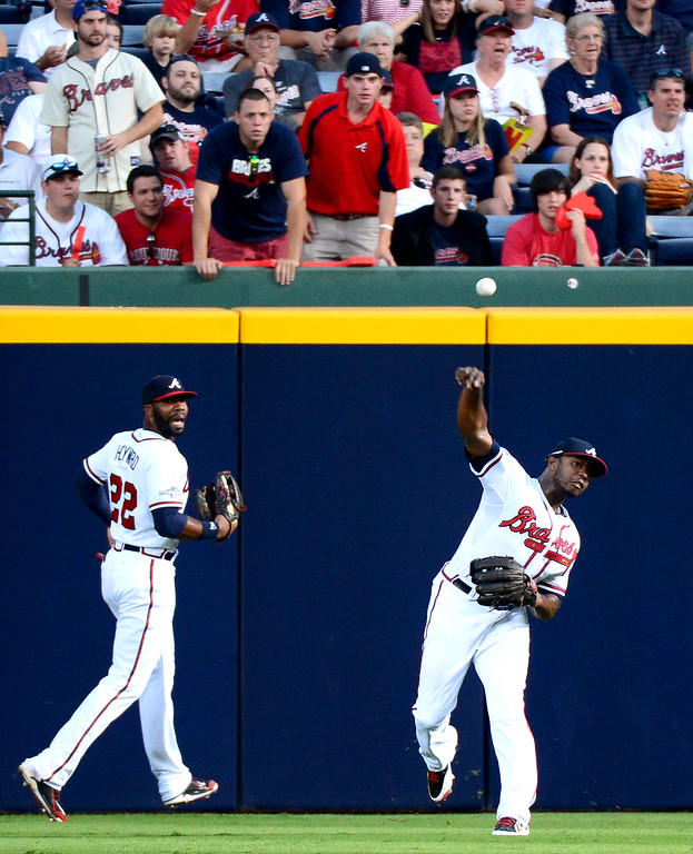 . The Atlanta Braves defeat the Los Angeles Dodgers 4-3 in game 2 of the playoffs Thursday, October 4, 2013 at Turner Field in Atlanta, Georgia. (Photo by Sarah Reingewirtz/Pasadena Star- News)