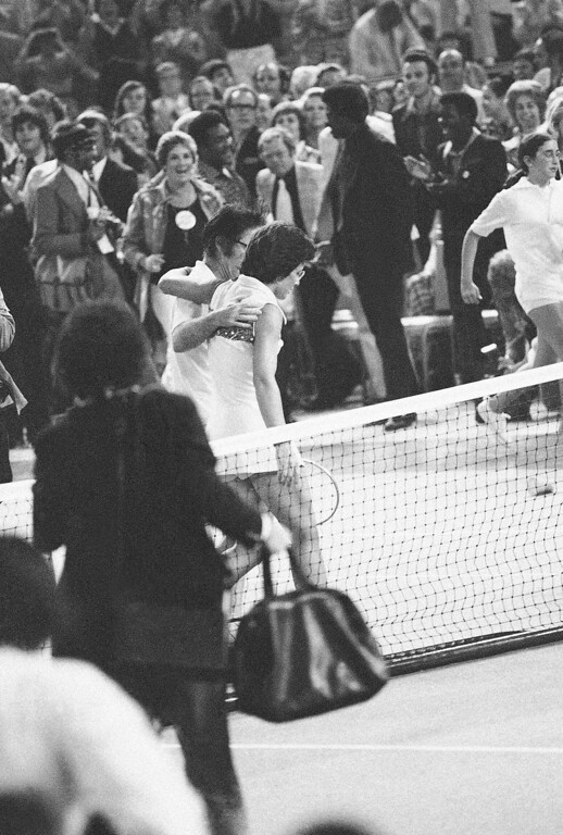 ". Mrs. Billie Jean King consoles Bobby Riggs after she defeated him in straight sets at the Houston Astrodome in ""The Battle of the Sexes\"" tennis match on Sept. 20, 1973. (AP Photo)"