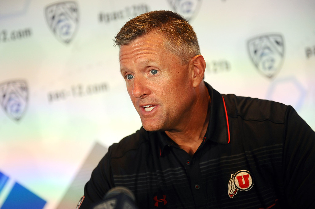 . Utah Head Coach Kyle Whittingham answers questions during PAC-12 Football Media Day at the Paramount Theater in Los Angeles, Ca July 23, 2014.(Andy Holzman/Los Angeles Daily News)