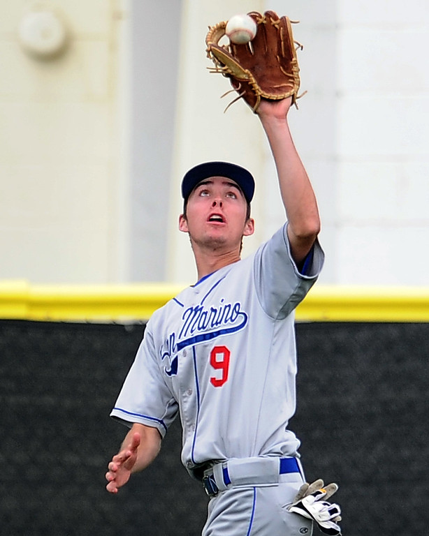 . San Marino left fielder Will Derrick catches a fly ball by La Canada\'s Scott Moulin (not pictured) in the sixth inning of a prep baseball game at La Canada High School on Wednesday, March 8, 2013 in La Canada, Calif. La Canada won 3-2.  (Keith Birmingham Pasadena Star-News)