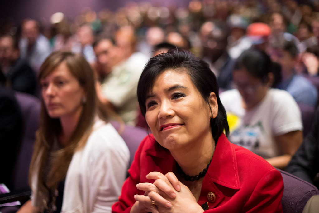 . Rep. Judy Chu attends a San Gabriel Mountains meeting Tuesday night, August 26, 2014 at Baldwin Park Performing Arts Center. Chu has a bill to make the area a national recreation area but has since asked President Obama to make the mountains a national monument. (Photo by Sarah Reingewirtz/Pasadena Star-News)