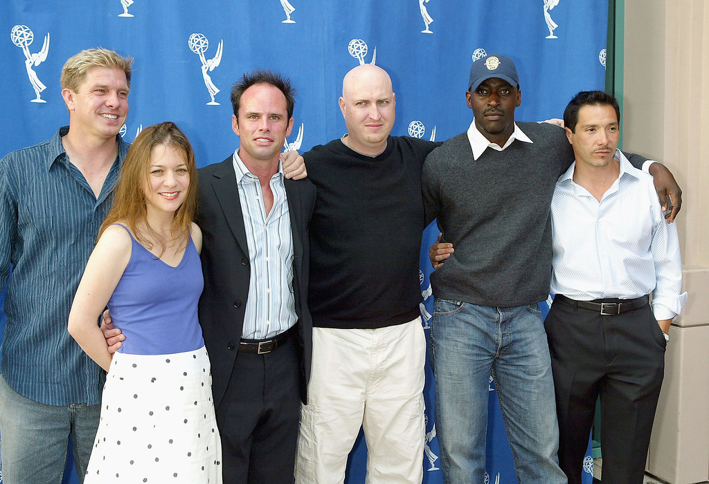 . (L to R) Actors Kenneth Johnson, Cathy Ryan, Walton Goggins, creator Shawn Ryan, actors Michael Jace and Benito Martinez arrive at the Academy of Television Arts and Sciences\' \'Behind The Scenes Double Header\' with FX\'s \'The Shield\' and \'Nip/Tuck\' at the Leonard H. Goldenson Theater on April 28, 2004 in Hollywood, California. (Photo by Kevin Winter/Getty Images)