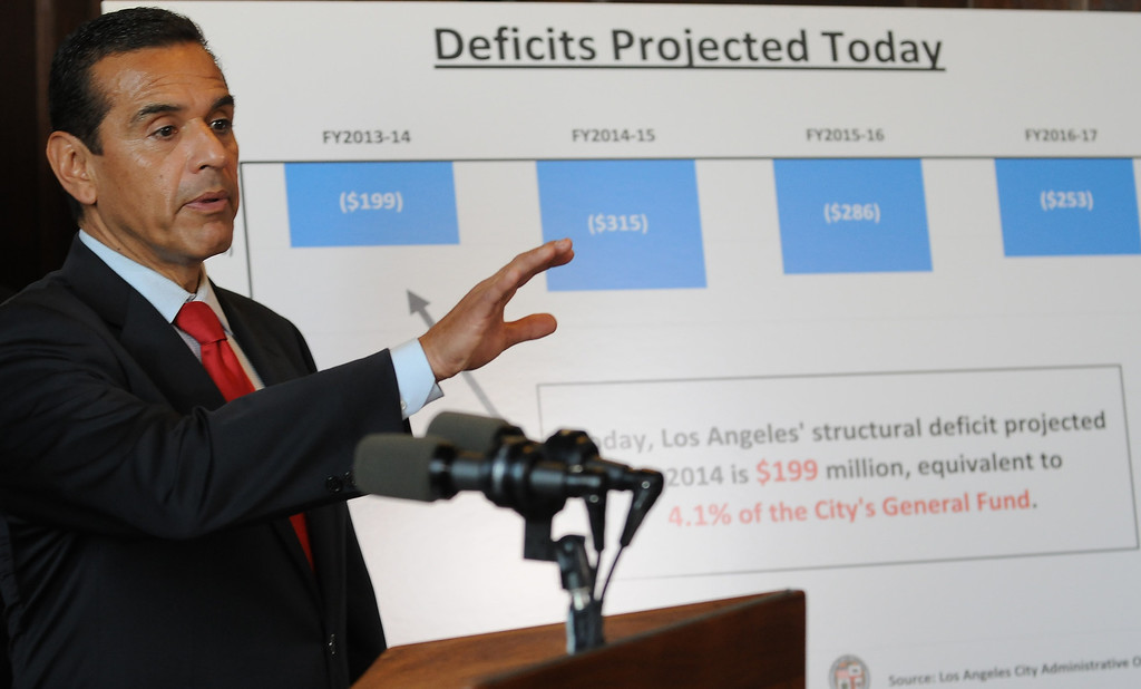 . Mayor Antonio Villaraigosa talks about the city budget. Los Angeles, CA 4/20/2012(John McCoy/L.A. Daily News)