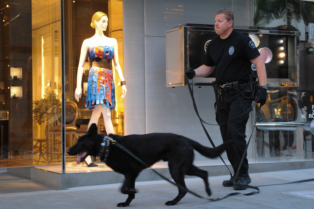 . Simi Valley police officer Vince Allegra and K9 Nero check Rodeo Drive in Beverly Hills before the start of the Los Angeles Marathon, Sunday, March 9, 2014. (Photo by Michael Owen Baker/L.A. Daily News)