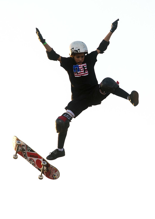 . Jagger Eaton takes a fall during the America\'s Navy Skateboard Big Air final during X Games Los Angeles at Irwindale Event Center in Irwindale on Thursday, August 1, 2013. (SGVN/Staff photo by Watchara Phomicinda)