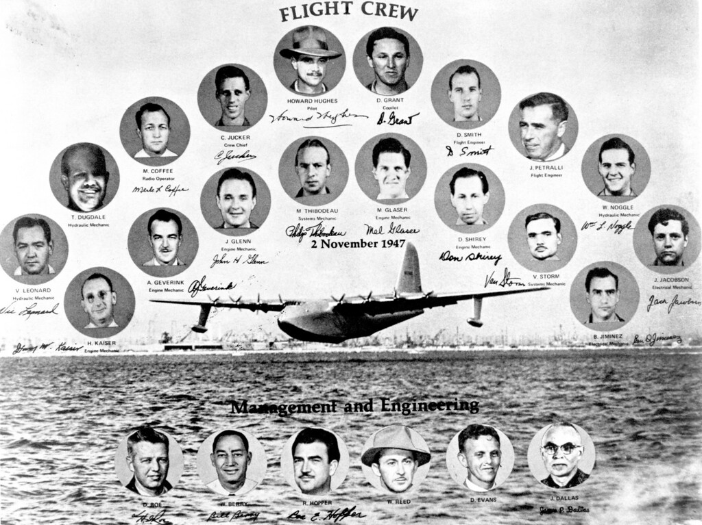 . Following the one-and-only flight of the Hughes Flying Boat on November 2, 1947, the crew designed this special souvenir photograph for those involved with the project.   Los Angeles Daily News file photo