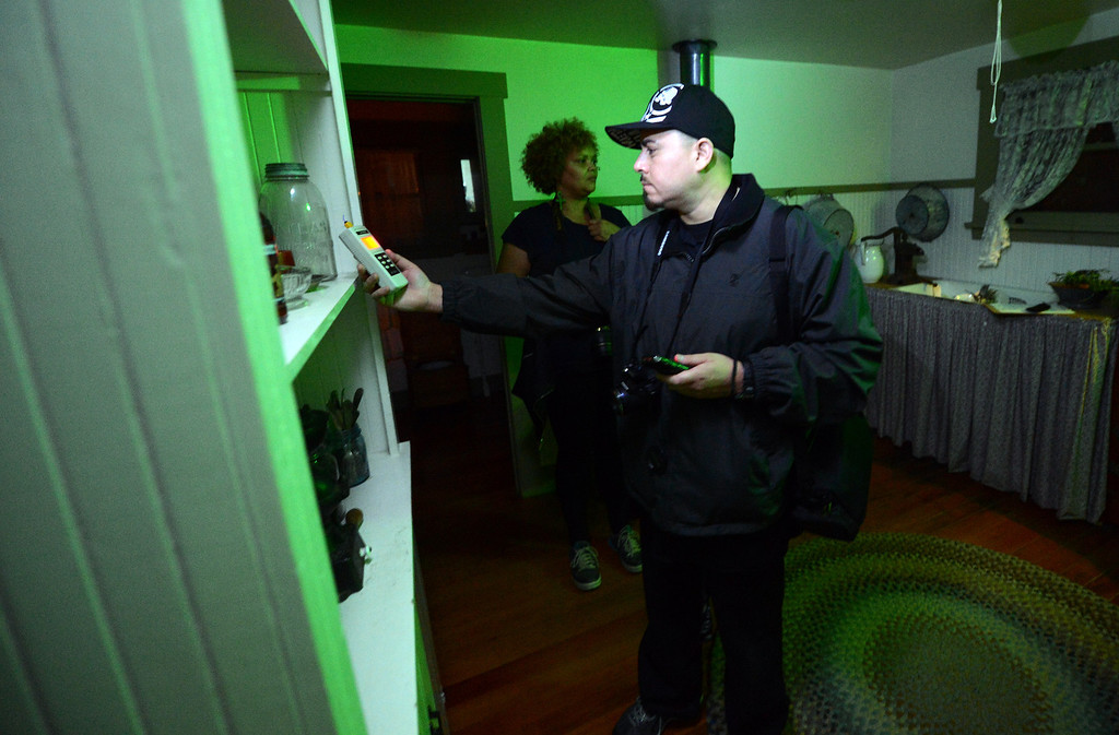 . Jacob Kire, co-founder of the Enlightened Paranormal Investigators of California, hunt for ghostss at the Santa Clarita Historical Heritage Junction in Newhall Friday, October 25, 2013. (Photo by Hans Gutknecht/Los Angeles Daily News)