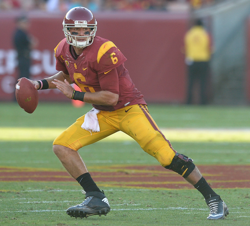 . USC QB #6 Cody Kessler drops back for a pass in the 2nd quarter. USC played Fresno State at the Los Angeles Memorial Coliseum for the first game of the year. Los Angeles, CA. 8/30/2014(Photo by John McCoy Daily News