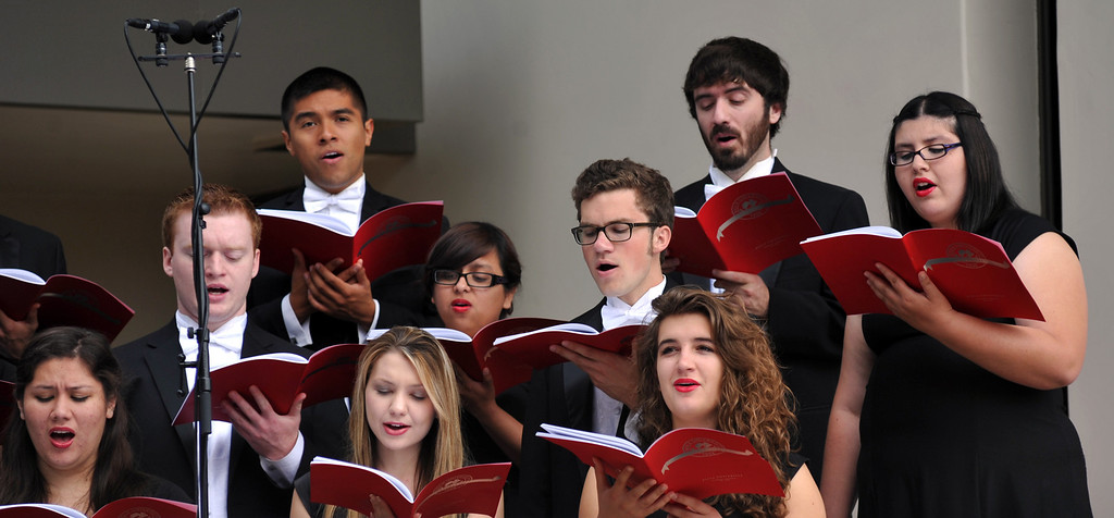 . The Biola Chorale performs during the Graduate and Bold Program Commencement ceremony at Biola University in La Mirada on Friday May 24, 2013. An estimated 340 graduate and Bold program students receive their diplomas during the morning ceremony. (SGVN/Staff Photo by Keith Durflinger)