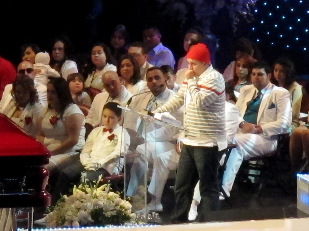 """. Trinidad \""""Michael\"""" Angelo Rivera, the son of Jenni Rivera, speaks at her memorial service at the Gibson Amphitheatre Wednesday, December 19, 2012, in Universal City. (Michael Owen Baker/Los Angeles Daily News)"""