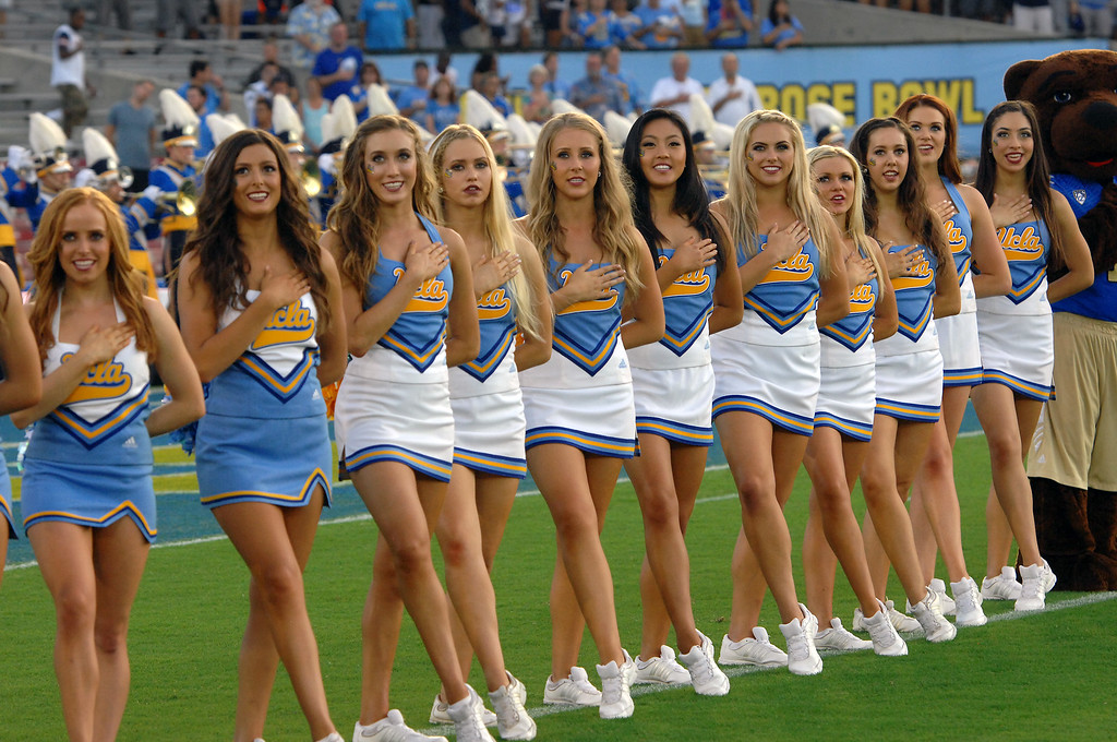 . UCLA cheerleaders before the game against Nevada, Saturday, August 31, 2013, at the Rose Bowl. (Michael Owen Baker/L.A. Daily News)