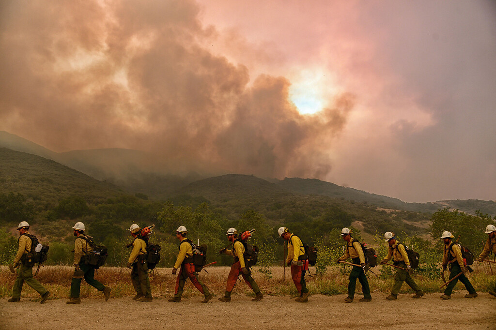 . A firefighting crew heads in to the Springs Fire along W Potrero Rd in Thousand Oaks Friday, May 3, 2013. (Hans Gutknecht/LA Daily News)
