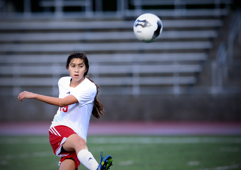 . Sierra Vista\'s Zitlali Jimenez (19) passes as Camarillo defeats Sierra Vista 3-1 in a quarterfinal game at Sierra Vista High School in Baldwin Park, February 28, 2014. (Photo by Sarah Reingewirtz/Pasadena Star-News)