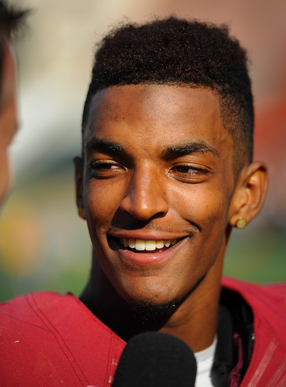 . USC QB Jalen Greene is interviewed following the spring game. (Photo by Michael Owen Baker/L.A. Daily News)