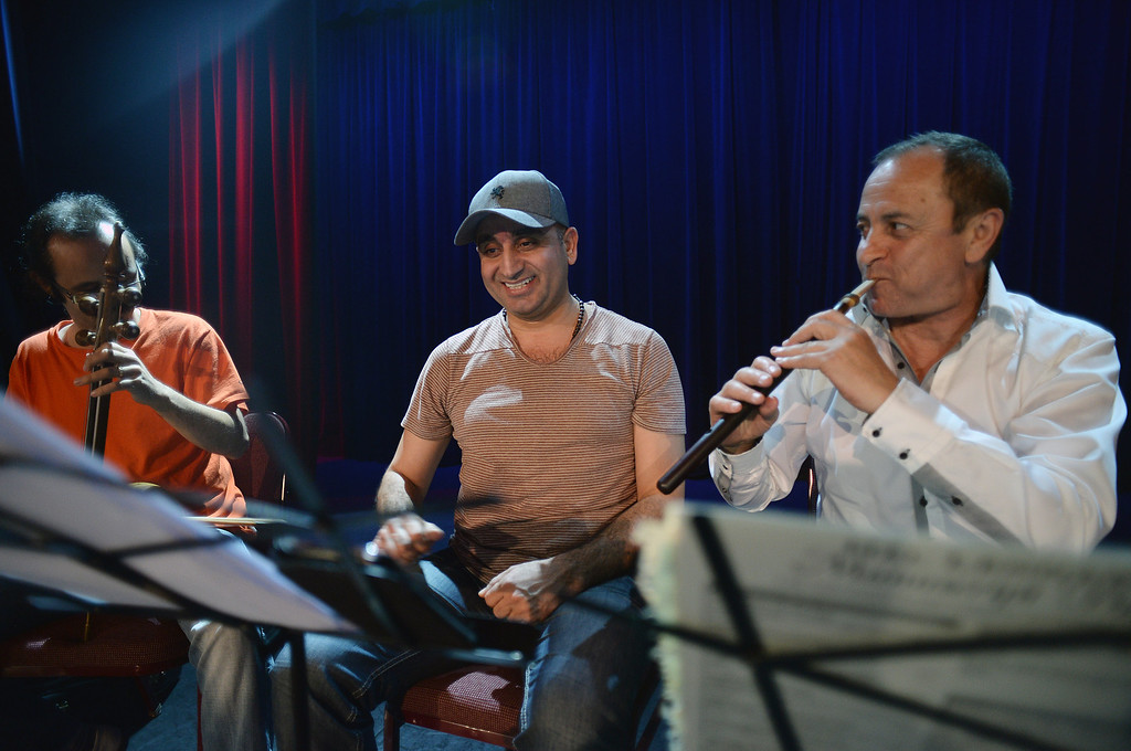 . Mehdi Bagheri, Sargon Youkhanna and Ruben Hatutyunyan during a rehearsal of  Assyrian music at Stars on Brand in Glendale Tuesday, February 25, 2014. The Assyrian Aid Society, which raises funds for Assyrians who are living in refugee camps in war torn parts of the Middle East, will hold a concert featuring rarely heard Assyrian folk music.  (Photo by Hans Gutknecht/Los Angeles Daily News)