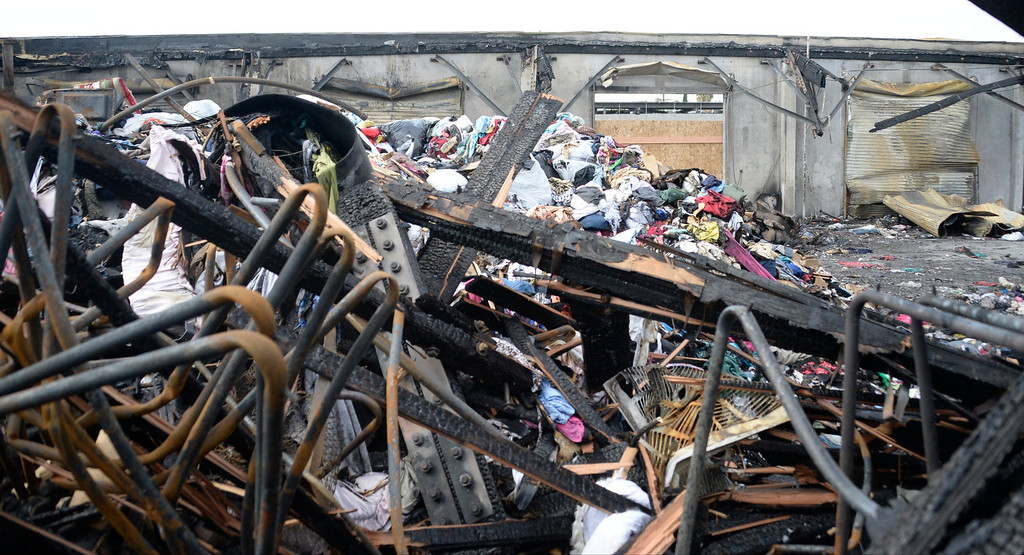 . The charred remains of the San Fernando Valley Rescue Mission on May 8, 2014 after a fire destroyed the mission\'s North Hollywood emergency shelter, vehicle fleet, clothing warehouse and food pantry. (Photo by Gene Blevins/Los Angeles Daily News)