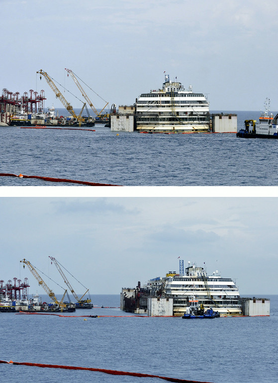 . In this combo picture, the luxury cruise ship Costa Concordia is moved away from the underwater platform where it has lain during operations to put it afloat off the tiny Tuscan island of Isola del Giglio, Italy, Monday, July 14, 2014. The shipwrecked Costa Concordia, which struck a reef in January 2012 and capsized, killing 32 people, is to be towed away for scrapping. (AP Photo/Giacomo Aprili)